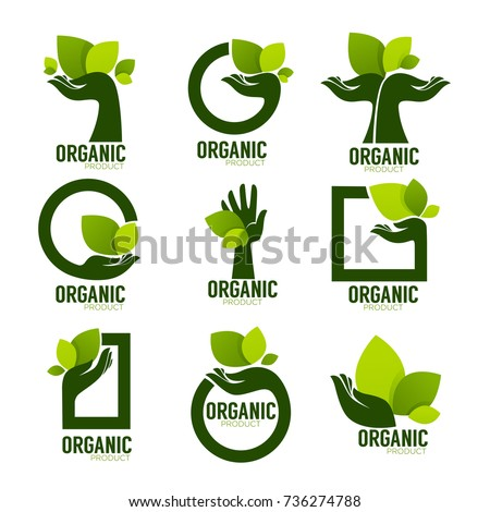 Nature Product Logo Set, ecological symbol and sign, human hand and green growing plants