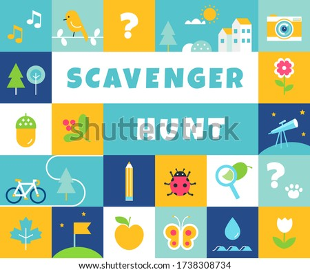 Nature Scavenger Hunt. Summer Camp and Community Activity and Game for Children Сток-фото ©