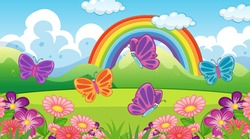 Nature scene background with butterflies and rainbow in the garden illustration