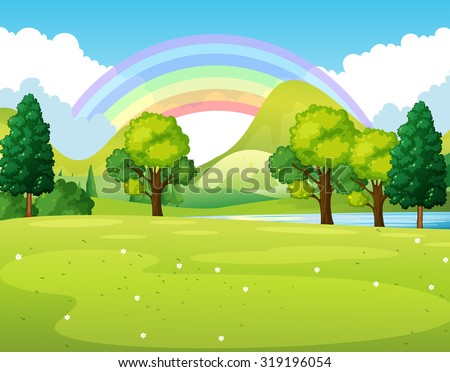 stock-vector-nature-scene-of-a-park-with-rainbow-illustration