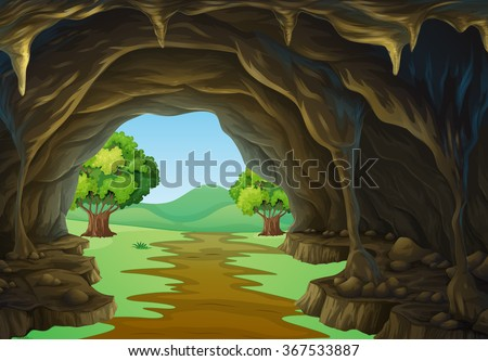 Shutterstock Nature scene of cave and trail illustration