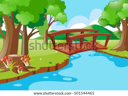 nature scene with bridge