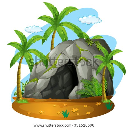 nature scene with cave and