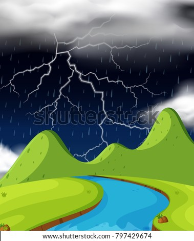 nature scene with lightning and
