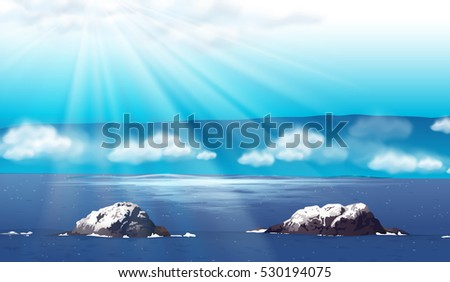 nature scene with ocean at