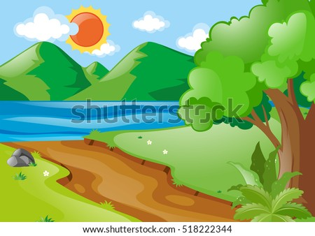 nature scene with river and