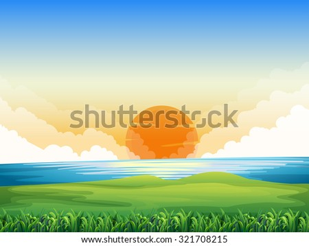 nature scene with sunset
