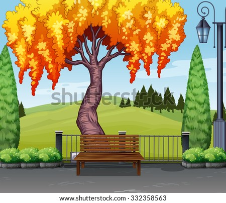 nature scene with tree in park