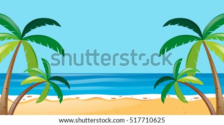 Nature scene with trees on the beach illustration
