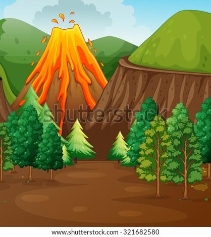 nature scene with volcano