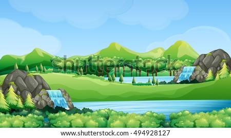 nature scene with waterfalls