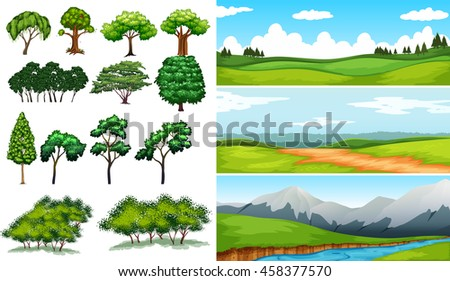 nature scenes with fields and