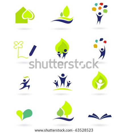 Nature, school and education icons. Vector illustrations abstract icons: nature, people and education set.