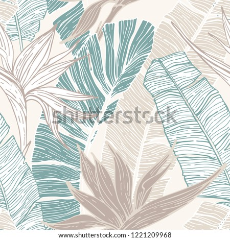 Nature seamless pattern. Hand drawn abstract tropical summer background : palm tree and banana leaves, bird-in-paradise flower in silhouette, line art. Vector art illustration in pastel retro colors