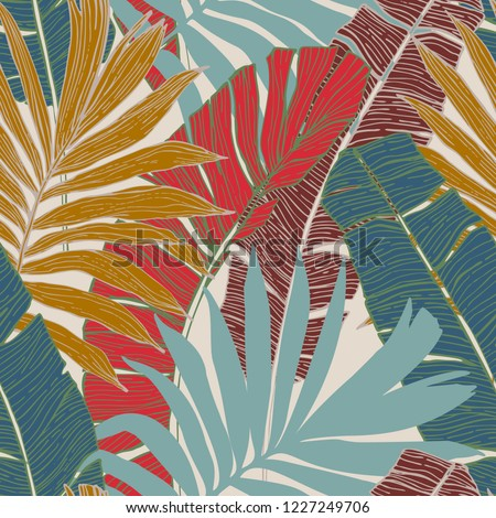 Nature seamless pattern. Hand drawn abstract tropical summer background : palm tree and banana leaves in silhouette, line art. Vector art illustration in golden retro colors