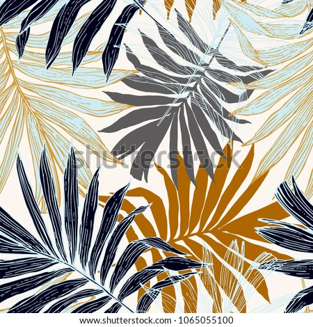 Nature seamless pattern. Hand drawn abstract tropical summer background : palm tree leaves in silhouette, line art. Vector art illustration in golden retro colors