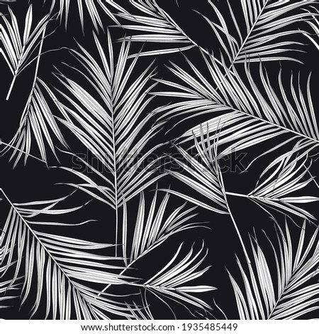 Nature seamless pattern. Hand drawn tropical summer background: black white palm tree leaves, line art background. Foto stock ©