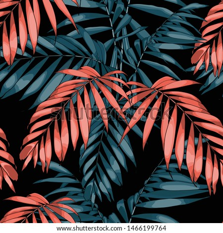 Nature seamless pattern. Hand drawn tropical summer background: orange and blue palm tree leaves, line art. Black background.
