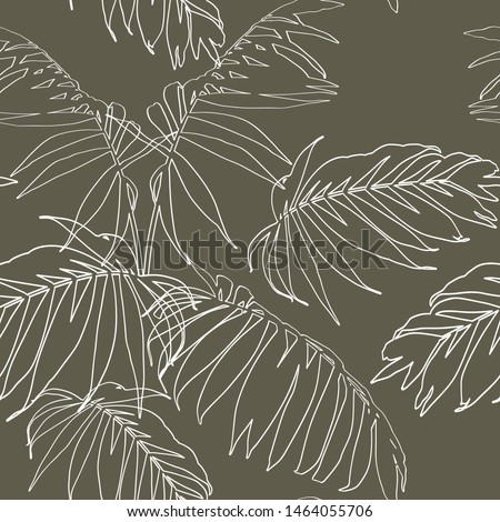 Nature seamless pattern. Hand drawn tropical summer background: white palm tree leaves, line art. Olive color background.