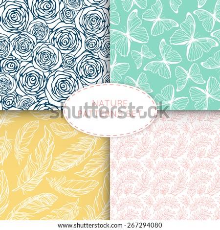 nature seamless patterns set 4