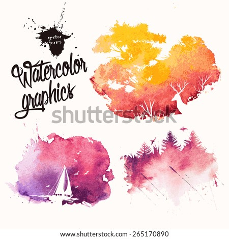 Nature silhouettes in colorful ink splatters
