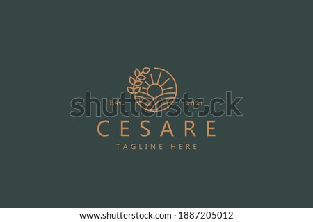 Nature Simple Line Style Logo. Sunrise, Ground, and Plant On The Circle. Premium Vector Badge Logo for Brand Company and Product.