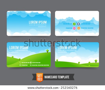 Nature sky cloud field concept business card template vector illustration