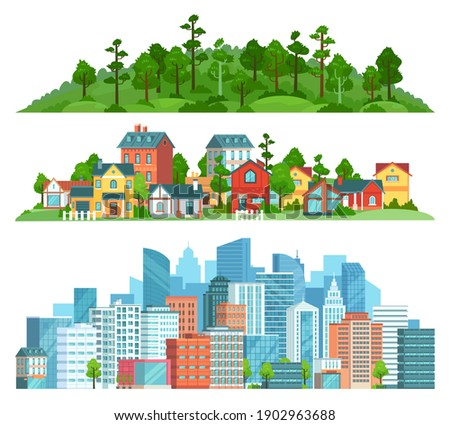 Nature, suburban landscape and cityscape isolated illustration set. Vector cityscape urban town, suburban building and village with green forest