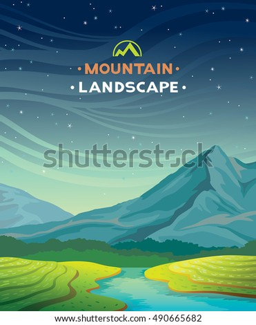nature summer landscape with