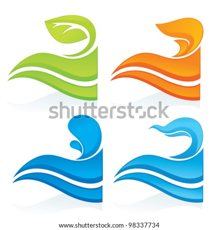 nature symbols, vector decorative elements - stock vector