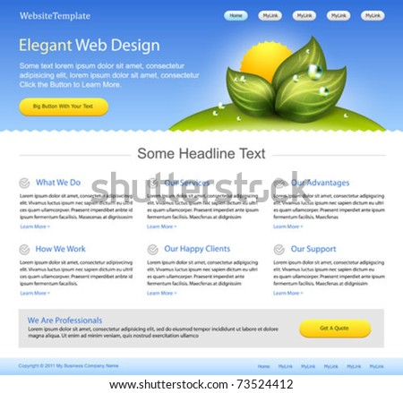 nature themed website template with green leaves, sun, blue sky