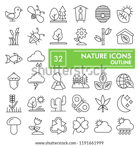 Nature thin line icon set, environment symbols collection, vector sketches, logo illustrations, conservation signs linear pictograms package isolated on white background, eps 10