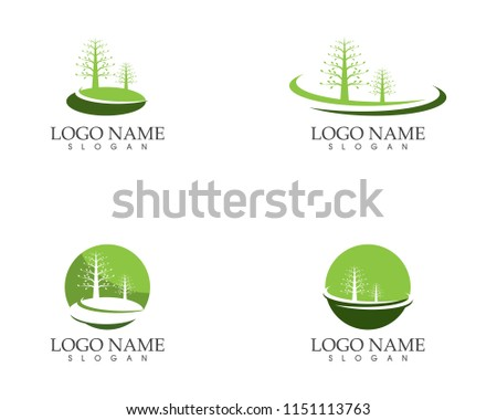 Nature trees logo vector template