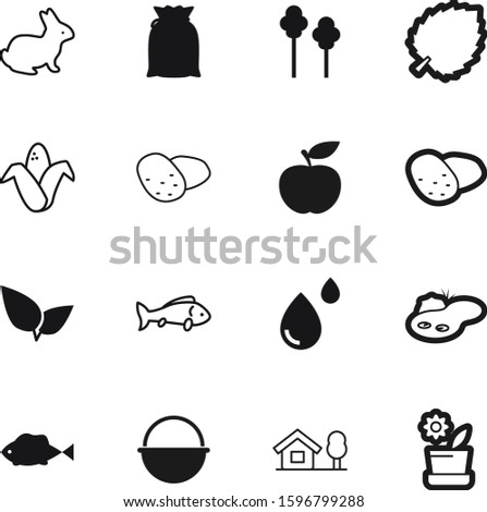 nature vector icon set such as: botanic, cottage, picnic, flour, fruit, dessert, celebration, sky, trip, knowledge, cartoon, blood, tree, delicious, modern, decoration, stem, botanical, sack, easter