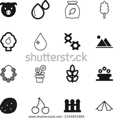 nature vector icon set such as: botanical, seed, medical, one, spring, lei, gardening, lines, pictogram, pig, science, tropical, weekend, botanic, genetic, relaxation, storage, modern, snow, mountain