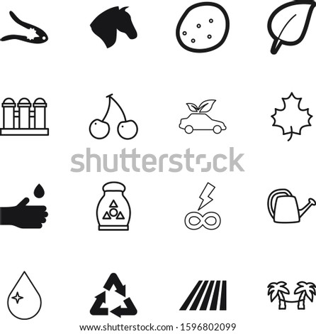 nature vector icon set such as: hybrid, vacation, race, potassium, infinity, grass, creative, car, thin, new, farming, template, planet, pliers, sticker, chemical, oil, can, reuse, botany, granary