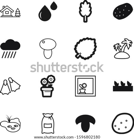 nature vector icon set such as: pack, seascape, botanical, liquid, pattern, hut, flippers, cottage, palm, vitamin, feed, swamp, botanic, sliced, snorkeling, botany, education, trees, forecast, drop