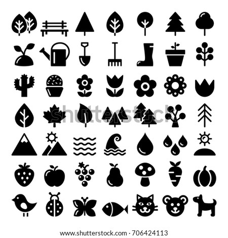 nature vector icons set  park