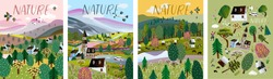 Nature. Vector illustration of a summer and spring landscape, mountains, trees, forest, houses and a village. Drawing of a European village and a village for a poster, background or postcard