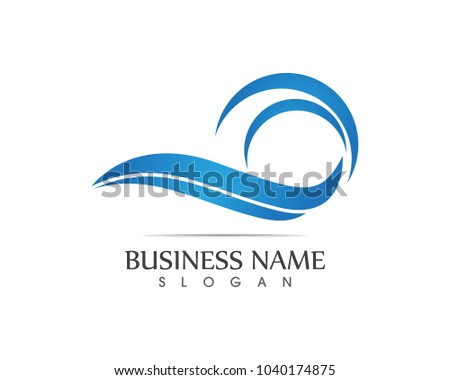 Nature wave beach logo design template