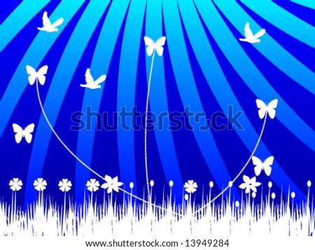 nature with rays abstract - stock vector