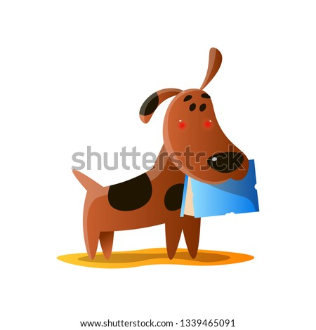 a274b5f38 Naughty brown cartoon dog carrying book in mouth isolated on white  background