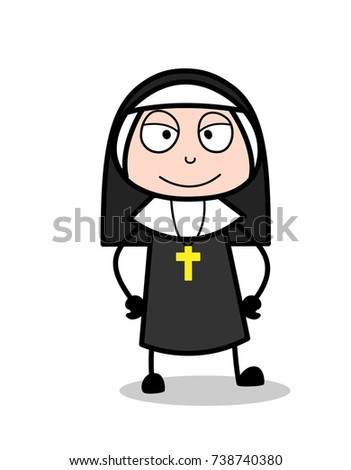 Naughty Cartoon Nun Smiling Face