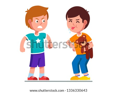 Naughty preschool kid holding teddy bear, showing tongue, grimacing & teasing angry boy. Children quarreling over toy, having argument & conflict. Flat vector cartoon child characters illustration