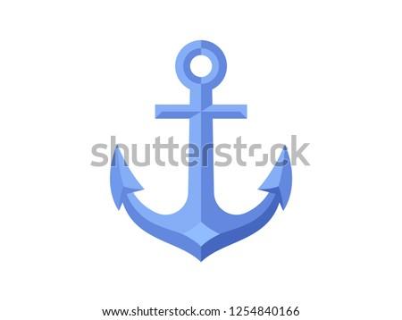Nautical anchor icon isolated on white background. Flat design. Vector illustration