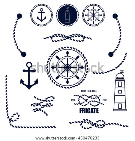 Nautical and marine icons. Vector sign anchor ocean ship, graphic element nautical symbols. Vintage retro marine emblem, label nautical symbols. Travel sea stamp sailing rope symbols.