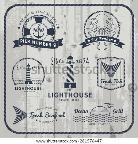nautical and seafood labels