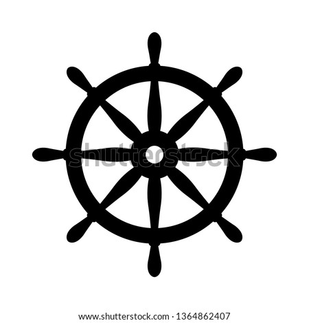 Nautical black helm isolated on white. Ship and boat steering wheel sign. Boat wheel control icon. Rudder label.