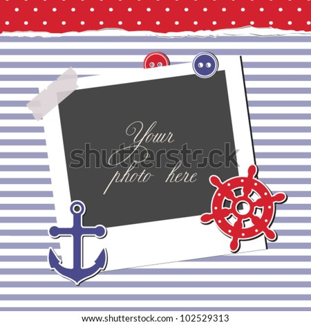 Nautical card, scrapbook template