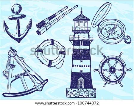 Nautical collection - hand-drawn illustration of lighthouse, life buoy, telescope, sextant, anchor, helm, compass
